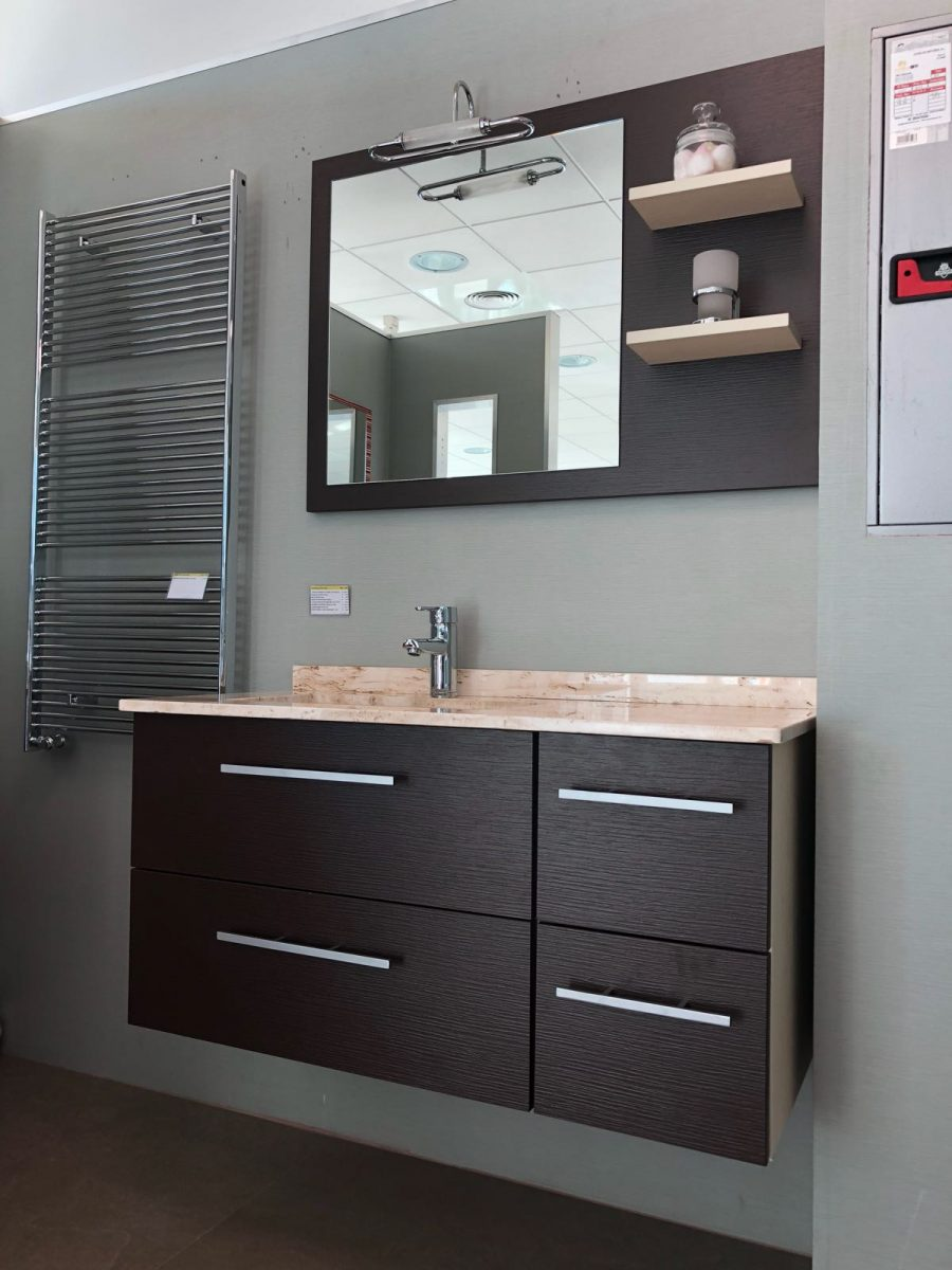 Mueble de ba o en dos m dulos en color negro y madera - Frisse puertas ...